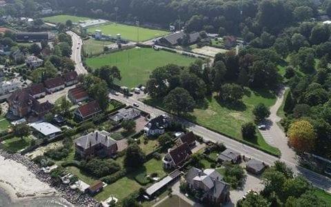 Dronefoto af Stadionareal, foto: Helsingør Kommune